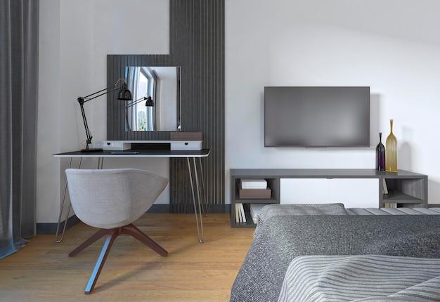 Toaletka i krzesło w nowoczesnej sypialni. miejsce pracy jest wykonane we współczesnym stylu. renderowania 3d.