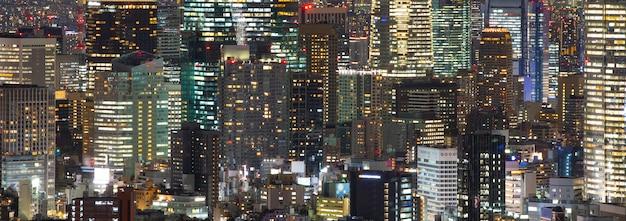 Tokio centrum nocy widok