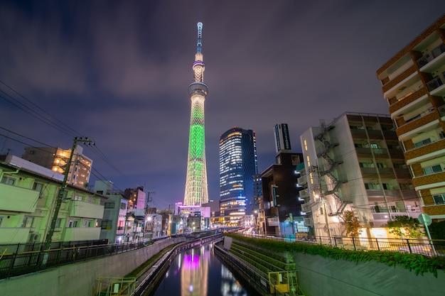 Tokio, japonia pejzaż ze skytree.