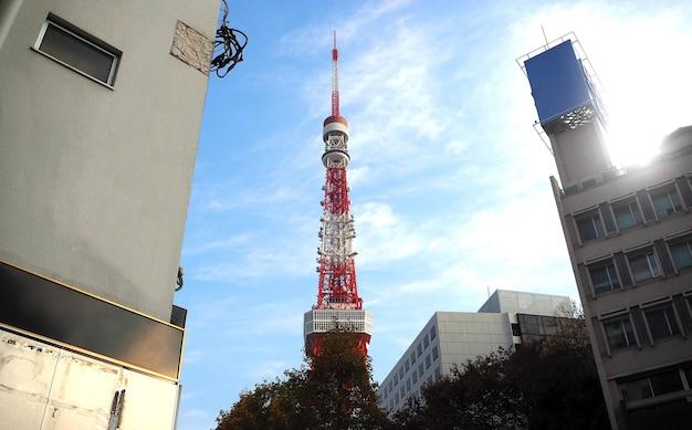Tokyo tower w kolorze czerwono-białym stalowym metalem i błękitnym niebem.