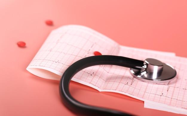 Tonometr do pomiaru ciśnienia i ekg na różowym tle