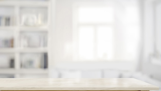 Top marmurowy stół w tle salonu