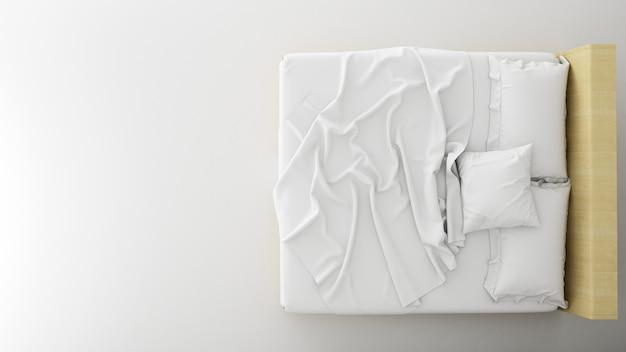 Top plan sypialnia minimalistyczny wystrój w mieszkaniu - renderowanie 3d