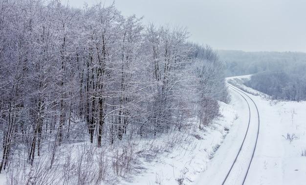 Tor kolejowy na obrzeżach lasu w zimie. widok z góry_