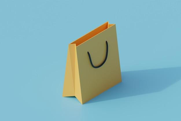 Torba na zakupy pojedynczy izolowany obiekt. 3d render ilustracji izometryczny