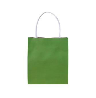 Torba na zakupy zielonej księgi na białym tle na białym tle ze ścieżką przycinającą