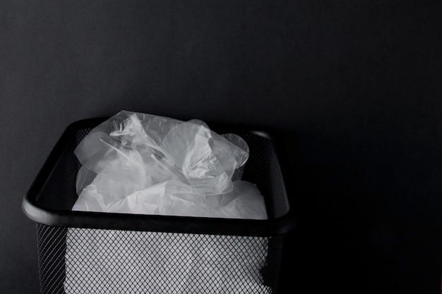Torba plastikowa z uchwytami, rękawiczki do kosza na czarno