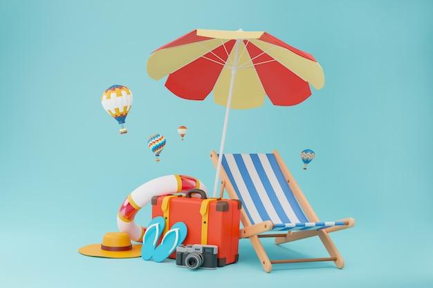 Torby podróżne używane w turystyce w komplecie z kapciami, aparatem, krzesłami i parasolami plażowymi.