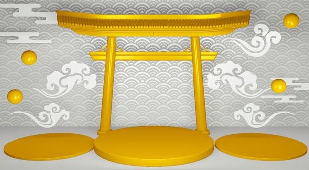 Torii podium geometryczne podium japońskiej tradycji.