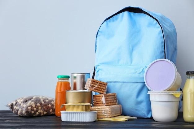 Tornister z różnymi produktami na stole. koncepcja programu żywności plecaka