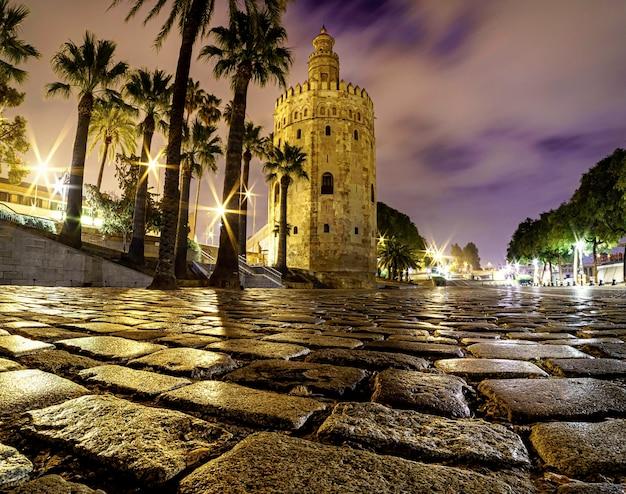 Torre del oro w sewilli w hiszpanii. pejzaż nocą.