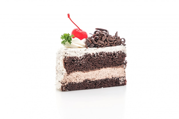 Tort czarny las na białym tle