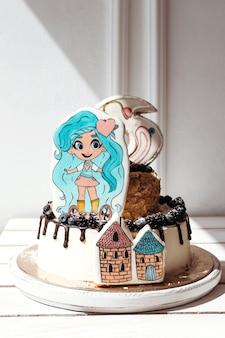 Tort urodzinowy brhairdorables dla dziewczynek