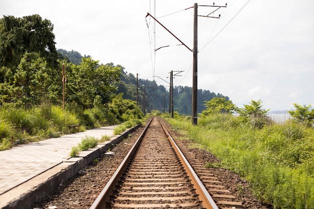 Tory kolejowe z drzewami, wieś wiejska wieś małe miasteczko widok z blaskiem słonecznym letnim zmierzchem