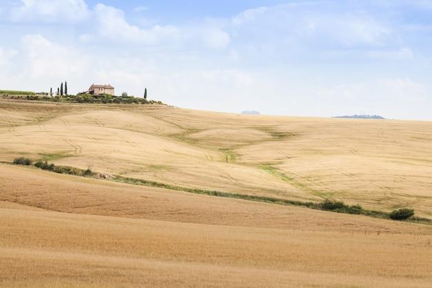 Toskania, obszar val d'orcia. cudowna wieś w słoneczny dzień, tuż przed nadejściem deszczu