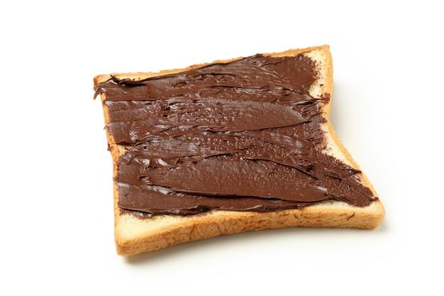 Tosty z czekoladą na białym tle