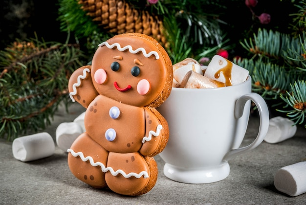 Tradycyjna świąteczna uczta. gorąca czekolada z pianką, ciasteczka z piernika, gałęzie jodły i miejsce na wakacje dekoracje świąteczne