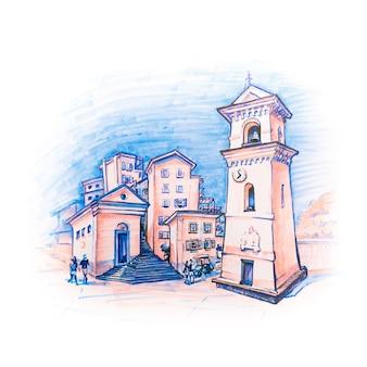 Tradycyjne domy i dzwonnica kościoła san lorenzo lub narodzenia marii vergine w wiosce rybackiej manarola na pięciu ziemiach, park narodowy cinque terre, liguria, włochy. markery wykonane z obrazka