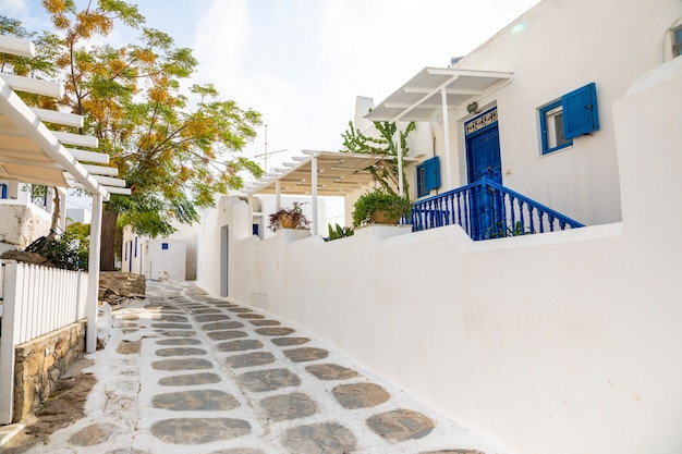 Tradycyjne domy z niebieskimi drzwiami i oknami w wąskich uliczkach greckiej wioski w mykonos, grecja