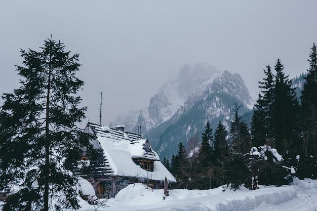 Tradycyjne drewniane domy w tle gór zimowych w ośrodku narciarskim w zakopanem, kościelisko, polska