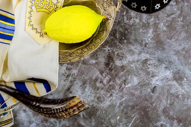 Tradycyjne symbole żydowski festiwal sukkot etrog