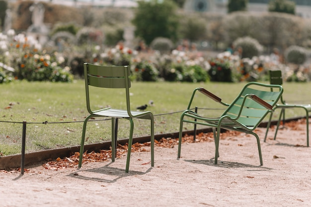 Tradycyjne zielone krzesła w ogrodzie tuileries w paryżu, francja