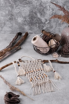 Tradycyjny asortyment makramy w pomieszczeniach