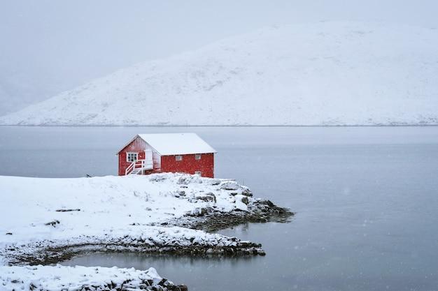 Tradycyjny czerwony dom rorbu na brzegu fiordu z dużymi opadami śniegu w zimie. lofoty, norwegia