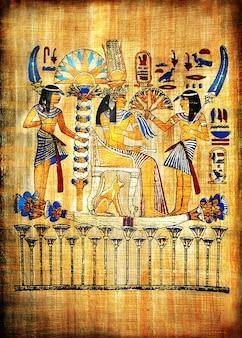 Tradycyjny egipski ręcznie robiony papirus tło