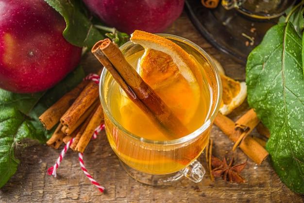 Tradycyjny napój alkoholowy jesień zima. ostry i ostry cydr jabłkowy.