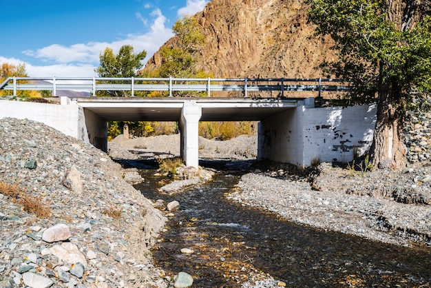 Trakt czujski, most na rzece tydtuyryk. kosh-agachsky district, republika ałtaju, rosja