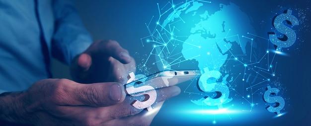 Transfer pieniędzy w cyfrowym świecie, biznesie i koncepcji technologii ilustracja 3d