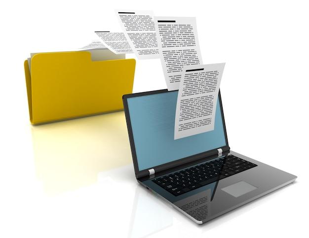 Transfer plików między laptopami a folderem. ilustracja 3d.