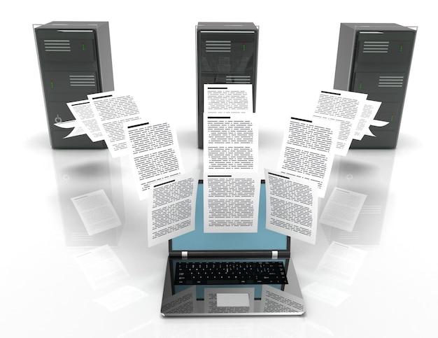 Transfer plików pomiędzy laptopami a serwerem internetowym. ilustracja 3d.