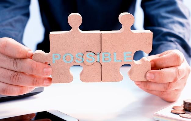 Transformacja osobista dla sukcesu w biznesie. rozwój i doskonalenie. puzzle i układanka.