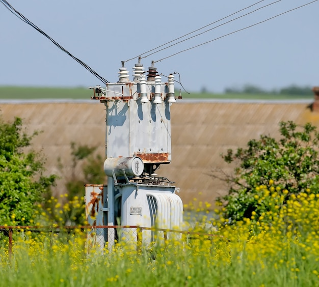 Transformator napięcia elektrycznego, zbliżenie na tle kwitnących roślin. wiejski krajobraz