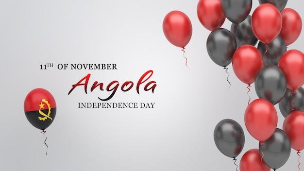 Transparent uroczystości z balonami w kolorach flagi angoli.