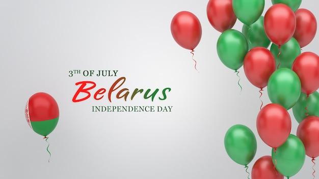 Transparent uroczystości z balonami w kolorach flagi białorusi.