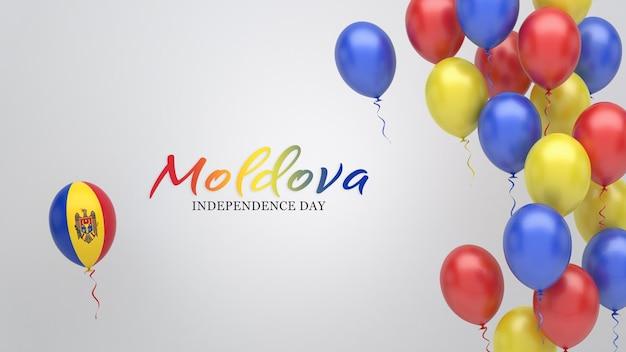 Transparent uroczystości z balonami w kolorach flagi mołdawii.