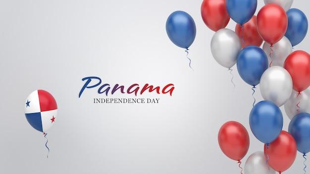 Transparent uroczystości z balonami w kolorach flagi panamy.