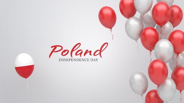 Transparent uroczystości z balonami w kolorach flagi polski.