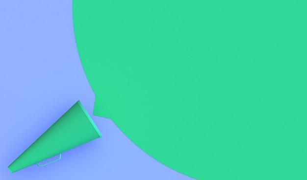 Transparent zielony megafon vintage na fioletowym tle z miejscem na umieszczenie reklamy lub tekstu