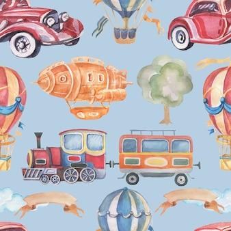 Transport samochód pociąg przyczepa balon sterowiec bezszwowe akwarela ilustracja ręcznie rysowane clipart dziecko ładny zestaw duży vintage retro maszyna do pisania drzewo wstążka do zdjęć napis dla przedszkola p