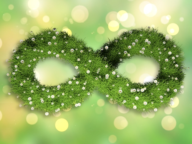 Trawa i stokrotki w kształcie symbolu nieskończoności na bokeh świateł