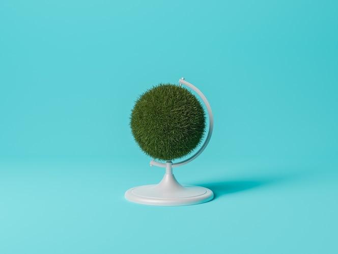Trawa kuli ziemskiej na niebieskim tle. minimalna koncepcja ekologii i środowiska. renderowanie 3d