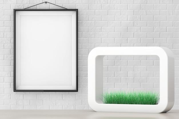 Trawa w białej ceramice doniczka przed ceglanym murem z ekstremalnym zbliżeniem pustej ramki.