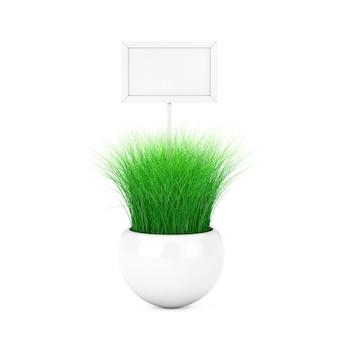 Trawa w białej doniczce ceramiki i biały drewniany znak z pustego miejsca na swój projekt na białym tle. renderowanie 3d