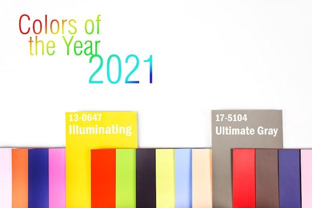 Trend kolorystyczny 2021. paleta kolorów z różnymi próbkami. przewodnik po katalogu próbek farb. próbki kolorów