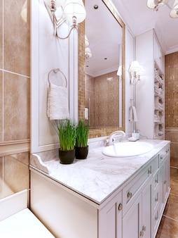 Trend w projektowaniu łazienek w stylu art deco.