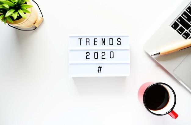 Trendy 2020 koncepcja biznesowa, widok z góry